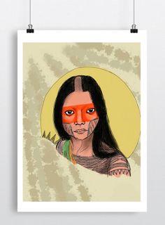Brazilian Native American Poster Illustration by EstefAzevedo, $50.00