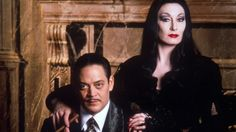 """""""Gomez…last night you were unhinged. You were like some desperate, howling demon. You frightened me."""" (Anjelica Huston and Raul Julia as Morticia and Gomez Addams in """"The Addams Family"""" movie) Die Addams Family, Adams Family, Raul Julia, Gomez And Morticia, Morticia Addams, Why Are You Single, Halloween Film, Halloween Books, Charles Addams"""