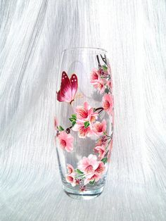 Hey, I found this really awesome Etsy listing at https://www.etsy.com/listing/245900096/hand-painted-glass-vase-sakura-and