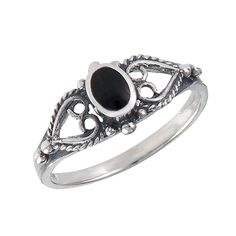 Onyx Heart Design Sterling Silver Ring Sizes: 5, 6, 7, 8