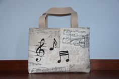 musical notes print large tote bag/ beige by leyyabags, $40.00