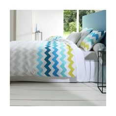 Housse de couette coton imprimé Joanne - Multicolore- Vue 1 Decoration, Bean Bag Chair, Throw Pillows, Johan, Furniture, Home Decor, Chevron, Bedding, Images