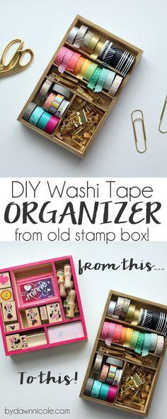 DIY Washi Tape Organizer from old stamp box | bydawnnicole.com (scheduled via http://www.tailwindapp.com?utm_source=pinterest&utm_medium=twpin&utm_content=post1546693&utm_campaign=scheduler_attribution)