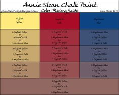 COLORWAYS  Annie Sloan Chalk Paint Custom Color recipe mixing guide Emperor's Silk + English Yellow + Napoleonic Blue: