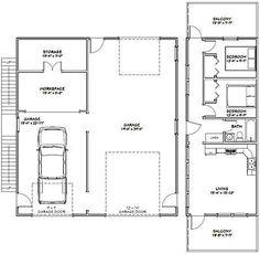 36x40 Apartment With 1 Car 1 RV Garage