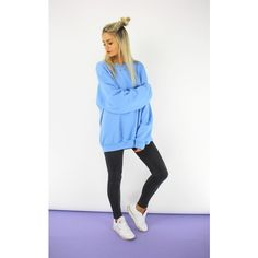 Cats got the Cream California Blue Boyfriend Sweatshirt ($37) ❤ liked on Polyvore featuring tops, hoodies, sweatshirts, blue, sweat tops, boyfriend top, oversized sweat shirts, oversized sweatshirt and blue top