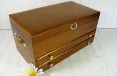 Vintage Gold Wooden Jewelry Chest  Retro Oversized by DivineOrders, $125.00