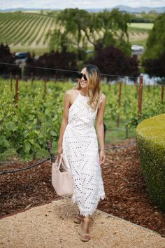 299334696a30 Beyond Basic Blog What to Wear Wine Tasting Line Dot Geo Lace Dress Domaine  Carneros Napa