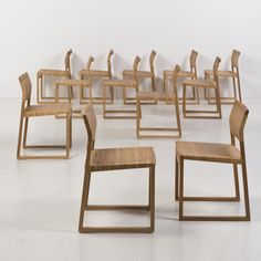 Børge Mogensen; Oak and Cane Chairs for Fredericia, 1950s.