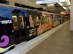 Another view of the Soul Train wrapped train promoting the Awards show in Atlanta, GA. Five Points Station, MARTA.