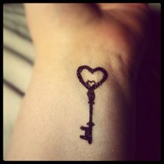"key wrist tattoos | Heart key ""tattoo"" doodle on my wrist. And no, it's not permanent lol ..."