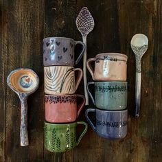 I love these mugs and spoons! Pottery Tools, Pottery Mugs, Slab Roller, Pottery Lessons, Pottery Handbuilding, Ceramic Spoons, Hand Built Pottery, I Don't Care, Clay
