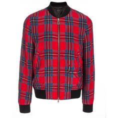 Paul Smith Men's Red Tartan-Check Bomber Jacket ($695) ❤ liked on Polyvore featuring men's fashion, men's clothing, men's outerwear and men's jackets