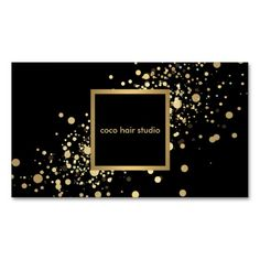 Faux Gold Confetti on Modern Black Business Card