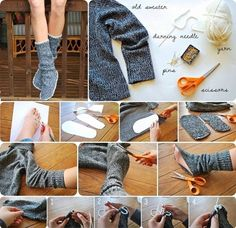 This step by step tutorial of how to make homemade recycled sweater slipper boots is a frugal project to recycle an old sweater into a way to warm up cold feet. Pullover Upcycling, Alter Pullover, Old Sweater, Upcycled Sweater, Sweater Boots, Wooly Jumper, Diy Couture, Outfit Trends, Fashion Project