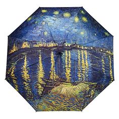 Van Gogh Over the Rhone Stick Umbrella: Rainy days do not have to be boring anymore! Make your own statement with a genuine Galleria Umbrella. They are truly works of art! See our full collection of original artwork and famous artists. Fancy Umbrella, Vintage Umbrella, Travel Umbrella, Rain Umbrella, Folding Umbrella, Under My Umbrella, Umbrellas Parasols, Rhone, Famous Artists