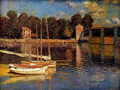 The bridge at Argenteuil by Claude Monet, impressionist painting.