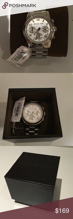Michael Kors Watch Brand New with Tags. Beautiful silver with white dial and triple chronographs. Has never been worn. 100% authentic. If you have any questions contact me. Michael Kors Accessories Watches