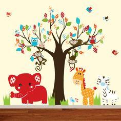 Jungle wall decal tree giraffeelephantmonkey by wallartdesign