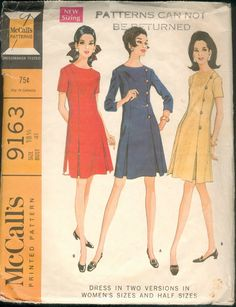 Cute 60s Dress Pattern McCalls 9163 Size 18 1/2 Uncut