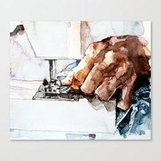 Hand Sewing Canvas Print Framed Art Prints, Canvas Prints, Acrylic Box, Freelance Illustrator, Wood Wall Art, Hand Sewing, Textiles, Hands, Fashion