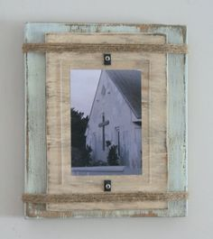 Distressed Handmade Picture Frame - Pale Green & Beige with Twine on Etsy, $40.00