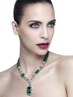 Cartier's Viracocha platinum necklace, from the Royal collection – created especially for the Biennale des Antiquaires 2014 – features a cushion-shaped emerald, emerald beads and diamonds. Emerald Necklace, Ruby Earrings, Emerald Jewelry, Gems Jewelry, High Jewelry, Emerald Rings, Bullet Jewelry, Diamond Necklaces, Gothic Jewelry