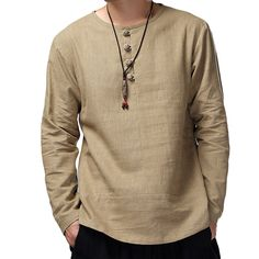 Mens Vintage Cotton Linen Button Collar Design Solid Color Long Sleeve Loose T Shirts