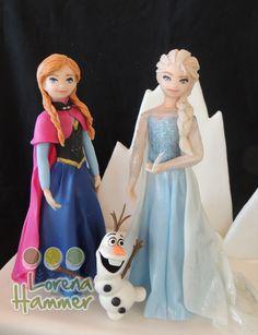 Frozen , Anna y Elsa, adorno porcelana fria