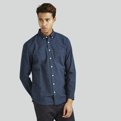 Shop Frank And Oak for modern eco-friendly clothing, ethically sourced and designed for good living. Try our Style Plan, our monthly subscription box. Denim Button Up, Button Up Shirts, Chef Jackets, Men Casual, Man Shop, Shirt Dress, Clothes For Women, Womens Fashion, Mens Tops