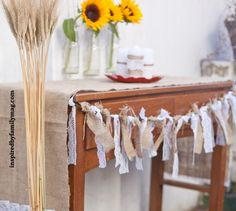 Beautiful and simple burlap and lace garland.  So making this one autumn!