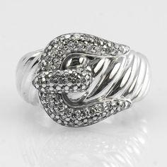 "David Yurman Sterling Silver ""Classic Cable"" 1.00ctw Diamond Buckle Fashion Ring"