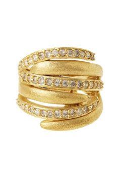 Rivka Friedman  18K Gold Clad Pave Simulated Diamond Multi-Row Ring