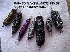 PLASTIC BEADS from grocery bags, diy HOW TO, recycle plastic bags.  Hand...