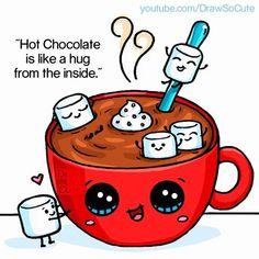 Hot Chocolate and Marshmallows~ Kawaii. Cute Food Drawings, Cute Kawaii Drawings, Doodle Drawings, Doodle Art, Chibi Kawaii, Kawaii Doodles, Arte Do Kawaii, Kawaii Art, Dibujos Cute