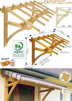 Auvent en bois à Prix Réduit : Auvent en bois de porte et fenêtre 1 pan MAR2012