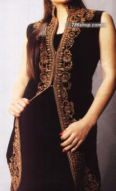 Black Crinkle Chiffon Suit | 786Shop.com | Pakistani Indian Dresses.