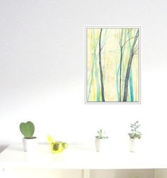 Forest in blue and yellow Art Prints  Watercolor by mallalu, $20.00