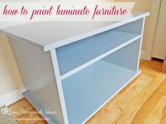 How-to Paint Laminate Furniture.  Use KILZ primer (oil based primer is the key to painting laminate), paint your desired color, and add several coats of polycrylic to seal it.  This is a great tutorial.