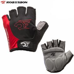 [Visit to Buy] Sales ROBESBON Red Cycling Gloves Bicycle Motorcycle Sport Gel Half Finger Gloves #Advertisement