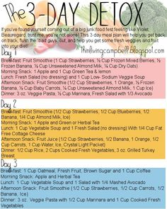 Here's my version of the 3-Day Detox in a pretty little picture!