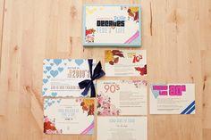 40th birthday decades invitation   posh paperie