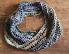 Easy quick infinity scarf instructions. Let your beautiful space dyed yarn do the work. I'd use something very soft, very luxe.