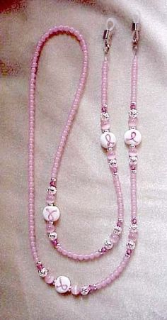 Breast Cancer Eyeglass Chain   Holder 5 DOLLAR DONATION Beaded Jewelry, Beaded Necklace, Beaded Bracelets, Boho Jewelry, Lanyard Necklace, Eyeglass Holder, Jewelry Patterns, Breast Cancer, Eyeglasses