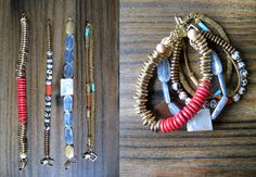 Gold, coral & stone bracelets.