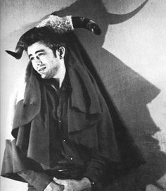 Rare photo of James Dean with his prized possession: A bloody bullfighter's cape and bull horns given to him by Sidney Franklin.