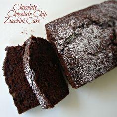 Chocolate Chip Zucchini Cake (flour, cocoa, baking soda, baking powder, salt, sugar, eggs, vanilla, veg oil, grated zucchini, chocolate chips)
