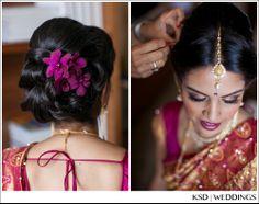 South Indian bride wearing bridal saree and jewllery. Reception look
