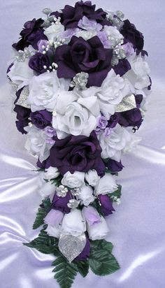 Purple And Silver Bouquets For Weddings 21pcs Bridal Bouquet Wedding Flowers Ebay