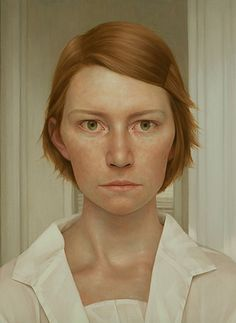 """""""Some Place Last Year"""" - Lu Cong (b. 1978), oil on panel {figurative realism art female redhead woman face portrait cropped painting #loveart} lucong.com"""